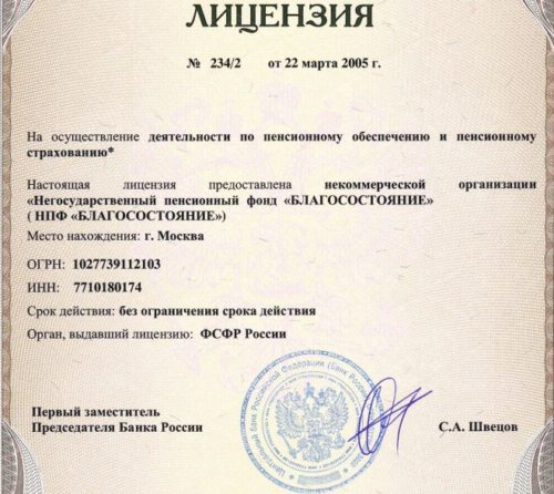 Лицензия НПФ Благосостояние